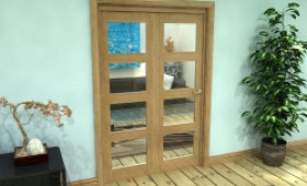 Glazed Oak Prefinished 2 Door 4l Roomfold Grande (2 + 0 X 610mm Doors) Image