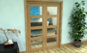 Glazed Oak Prefinished 2 Door 4l Roomfold Grande (2 + 0 X 686mm Doors) Image