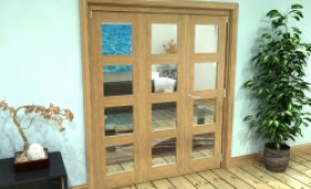 Glazed Oak Prefinished 3 Door 4l Roomfold Grande (2 + 1 X 610mm Doors) Image