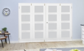Frosted Glass White Primed Shaker Frenchfold 4l  8ft (2374mm) Set Image