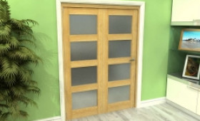 Frosted Glazed Oak 2 Door 4l Roomfold Grande (2 + 0 X 686mm Doors) Image