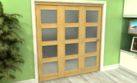 Frosted Glazed Oak 3 Door 4l Roomfold Grande (3 + 0 X 610mm Doors) Image