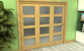 Frosted Glazed Oak 3 Door 4l Roomfold Grande (3 + 0 X 686mm Doors) Image