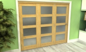 Frosted Glazed Oak 3 Door 4l Roomfold Grande (3 + 0 X 762mm Doors) Image