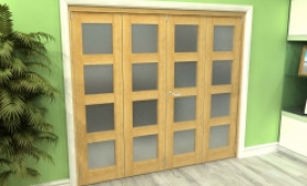 Frosted Glazed Oak 4 Door 4l Roomfold Grande (2 + 2 X 533mm Doors) Image