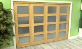 Frosted Glazed Oak 4 Door 4l Roomfold Grande (2 + 2 X 686mm Doors) Image