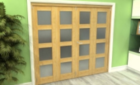 Frosted Glazed Oak 4 Door 4l Roomfold Grande 2400mm (8ft) 2 + 2 Set Image