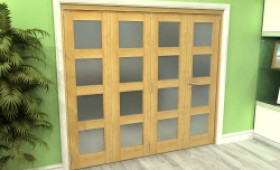 Frosted Glazed Oak 4 Door 4l Roomfold Grande 2400mm (8ft) 3 + 1 Set Image