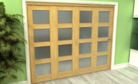 Frosted Glazed Oak 4 Door 4l Roomfold Grande 2400mm (8ft) 4 + 0 Set Image