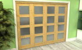 Frosted Glazed Oak 4 Door 4l Roomfold Grande (3 + 1 X 610mm Doors) Image