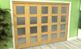 Frosted Glazed Oak 5 Door 4l Roomfold Grande 3000mm (10ft) 4 + 1 Set Image