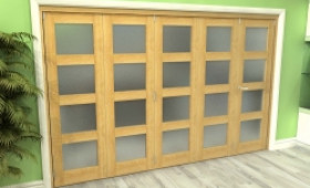 Frosted Glazed Oak 5 Door 4l Roomfold Grande (4 + 1 X 762mm Doors) Image