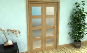 Frosted Glazed Oak Prefinished 2 Door 4l Roomfold Grande (2 + 0 X 573mm Doors) Image