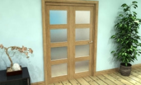 Frosted Glazed Oak Prefinished 2 Door 4l Roomfold Grande (2 + 0 X 610mm Doors) Image