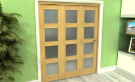 Frosted Glazed Oak Prefinished 3 Door 4l Roomfold Grande 1800mm (6ft) Set Image