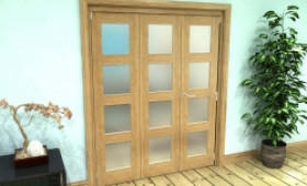 Frosted Glazed Oak Prefinished 3 Door 4l Roomfold Grande (2 + 1 X 533mm Doors) Image