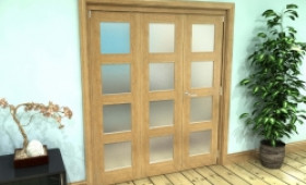 Frosted Glazed Oak Prefinished 3 Door 4l Roomfold Grande (2 + 1 X 610mm Doors) Image
