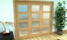 Frosted Glazed Oak Prefinished 3 Door 4l Roomfold Grande (2 + 1 X 686mm Doors) Image