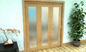 Frosted Glazed Oak Prefinished 3 Door Roomfold Grande (2 + 1 X 533mm Doors) Image