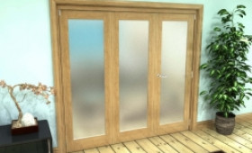 Frosted Glazed Oak Prefinished 3 Door Roomfold Grande (2 + 1 X 762mm Doors) Image