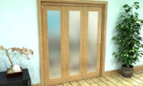 Frosted Glazed Oak Prefinished 3 Door Roomfold Grande (3 + 0 X 533mm Doors) Image