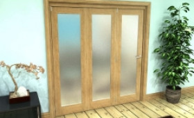 Frosted Glazed Oak Prefinished 3 Door Roomfold Grande (3 + 0 X 610mm Doors) Image