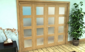Frosted Glazed Oak Prefinished 4 Door 4l Roomfold Grande 2400mm (8ft) 2 + 2 Set Image
