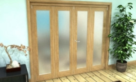 Frosted Glazed Oak Prefinished 4 Door Roomfold Grande (2 + 2 X 533mm Doors) Image