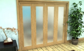 Frosted Glazed Oak Prefinished 4 Door Roomfold Grande (4 + 0 X 533mm Doors) Image