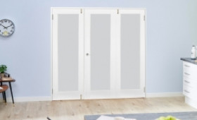 Frosted Glazed White Primed Shaker 3 Door Frenchfold (3 X 2