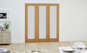 Glazed Oak - 3 Door Frosted Frenchfold (3 X 1