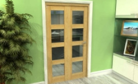Glazed Oak 2 Door 4l Roomfold Grande (2 + 0 X 533mm Doors) Image