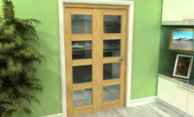Glazed Oak 2 Door 4l Roomfold Grande (2 + 0 X 573mm Doors) Image