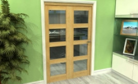 Glazed Oak 2 Door 4l Roomfold Grande (2 + 0 X 610mm Doors) Image
