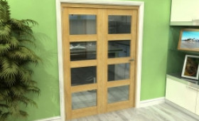Glazed Oak 2 Door 4l Roomfold Grande (2 + 0 X 686mm Doors) Image