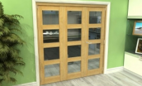 Glazed Oak 3 Door 4l Roomfold Grande 1800mm (6ft) 2 + 1 Set Image