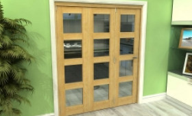 Glazed Oak 3 Door 4l Roomfold Grande 1800mm (6ft) 3 + 0 Set Image