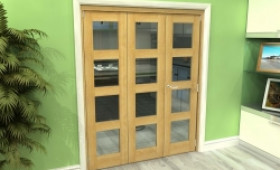 Glazed Oak 3 Door 4l Roomfold Grande (2 + 1 X 533mm Doors) Image