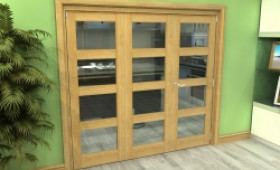 Glazed Oak 3 Door 4l Roomfold Grande (2 + 1 X 686mm Doors) Image