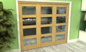 Glazed Oak 3 Door 4l Roomfold Grande (2 + 1 X 762mm Doors) Image