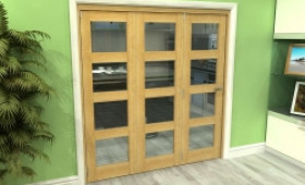 Glazed Oak 3 Door 4l Roomfold Grande (3 + 0 X 610mm Doors) Image