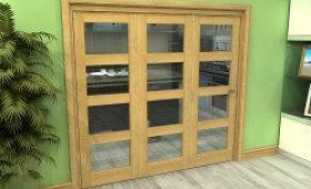 Glazed Oak 3 Door 4l Roomfold Grande (3 + 0 X 686mm Doors) Image