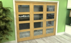 Glazed Oak 3 Door 4l Roomfold Grande (3 + 0 X 762mm Doors) Image