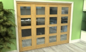 Glazed Oak 4 Door 4l Roomfold Grande (2 + 2 X 610mm Doors) Image