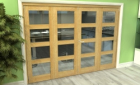 Glazed Oak 4 Door 4l Roomfold Grande (2 + 2 X 686mm Doors) Image