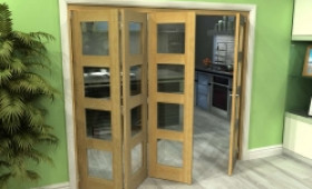 Glazed Oak 4 Door 4l Roomfold Grande 2400mm (8ft) 3 + 1 Set Image