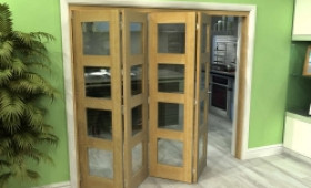 Glazed Oak 4 Door 4l Roomfold Grande 2400mm (8ft) 4 + 0 Set Image