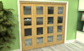 Glazed Oak 4 Door 4l Roomfold Grande (3 + 1 X 533mm Doors) Image