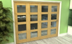 Glazed Oak 4 Door 4l Roomfold Grande (4 + 0 X 610mm Doors) Image
