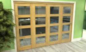 Glazed Oak 4 Door 4l Roomfold Grande (4 + 0 X 686mm Doors) Image